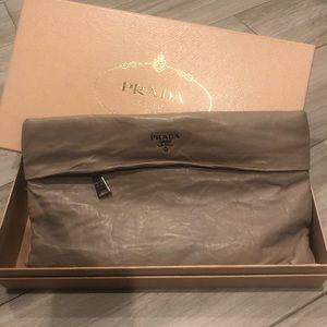 Prada crinkle leather clutch